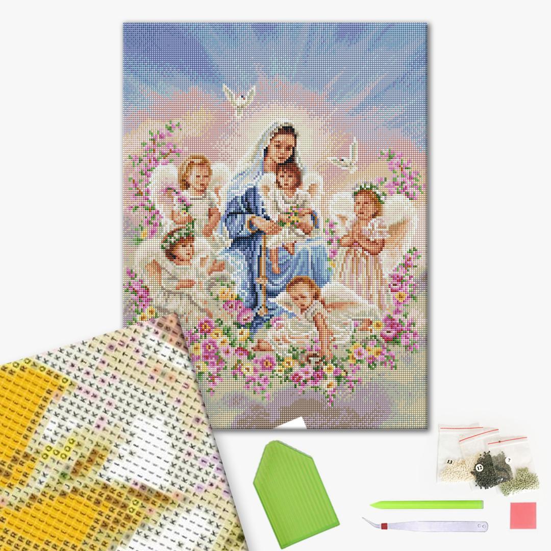 Алмазная мозаика 40х50 - Богородиця з ангелами