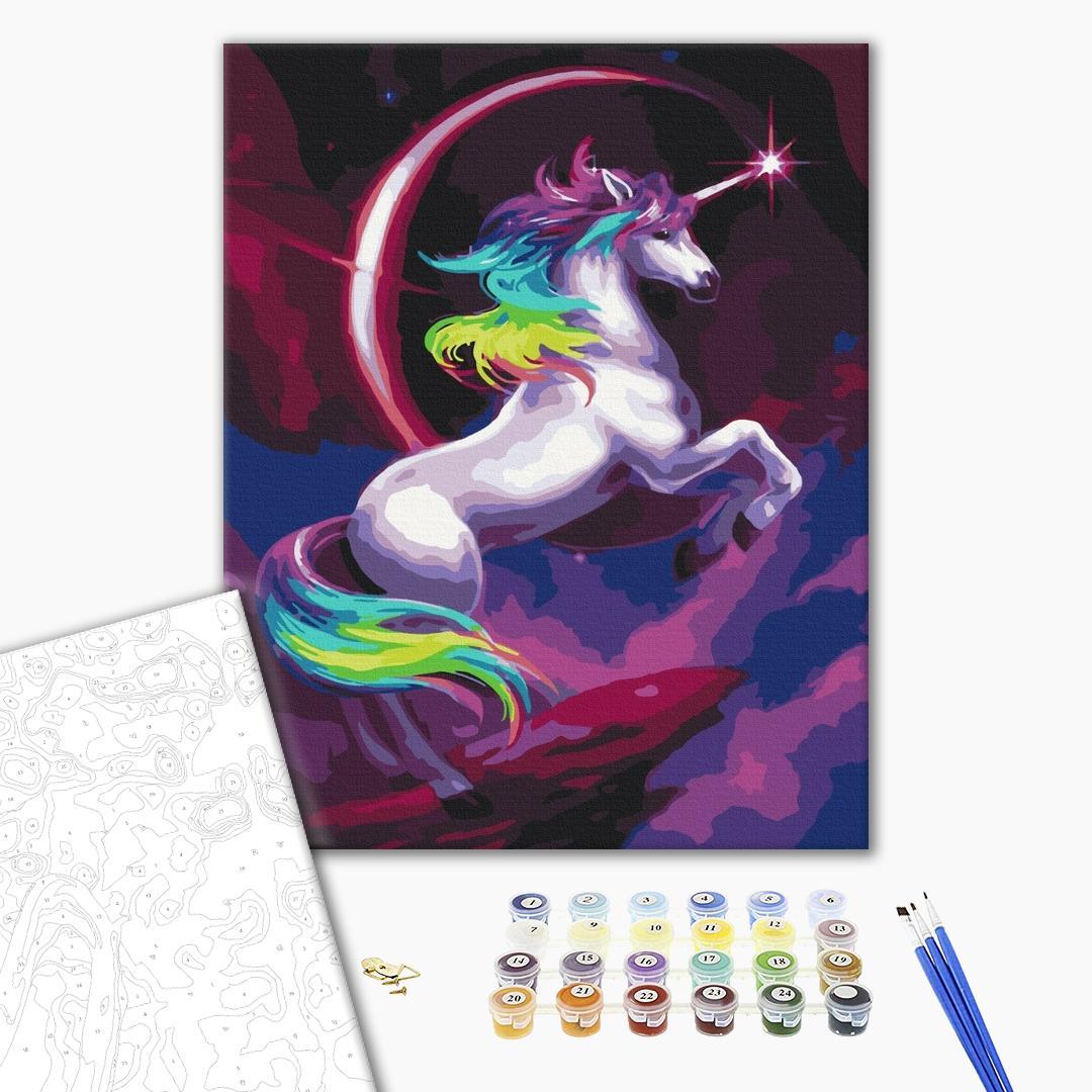 Картина по номерам Поп-арт - Казковий веселковий єдиноріг