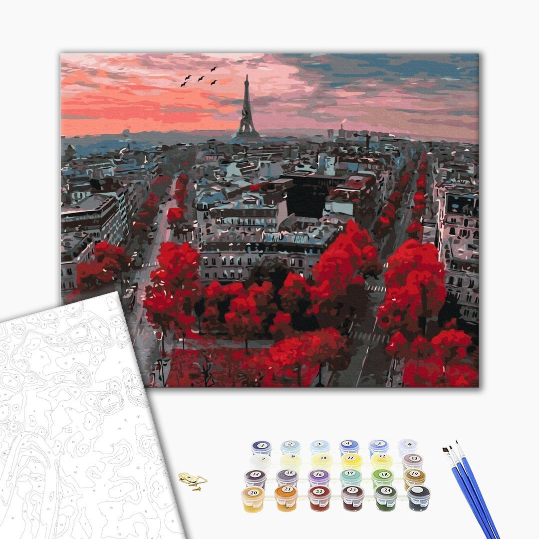 Картина по номерам Города - Алые краски Парижа