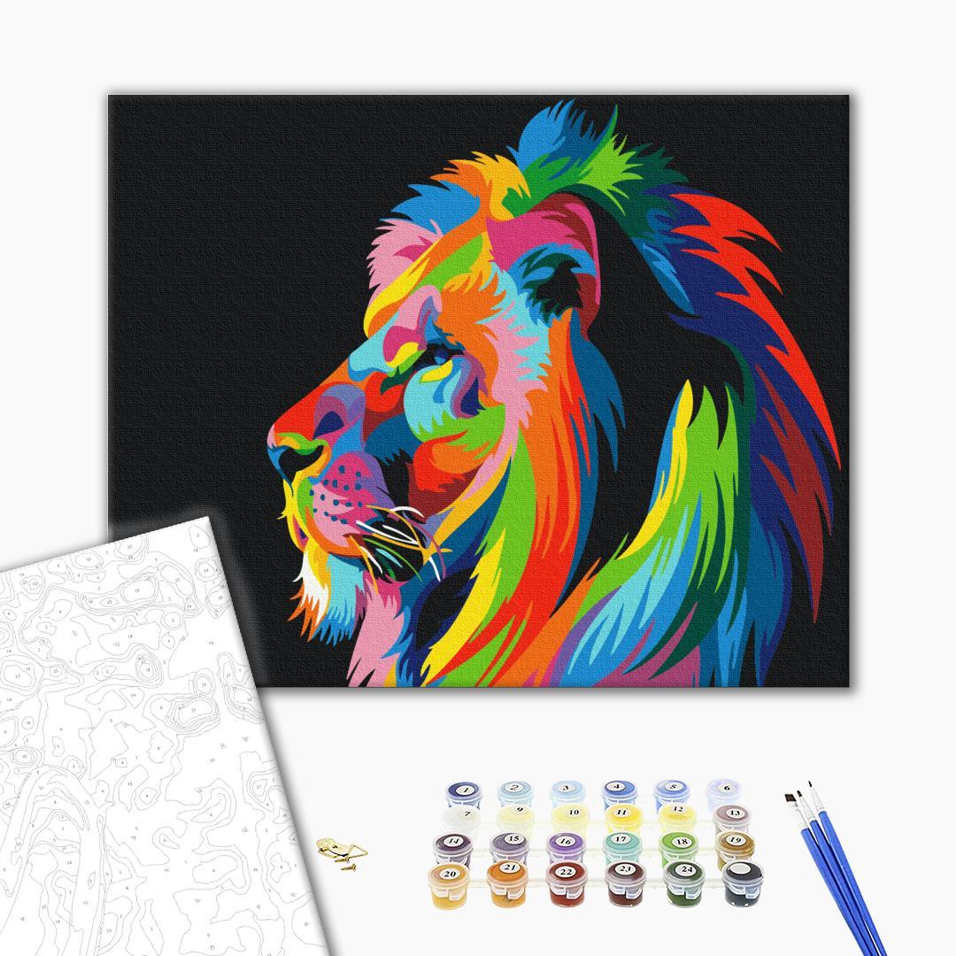 Картина по номерам Для начинающих - Райдужний лев