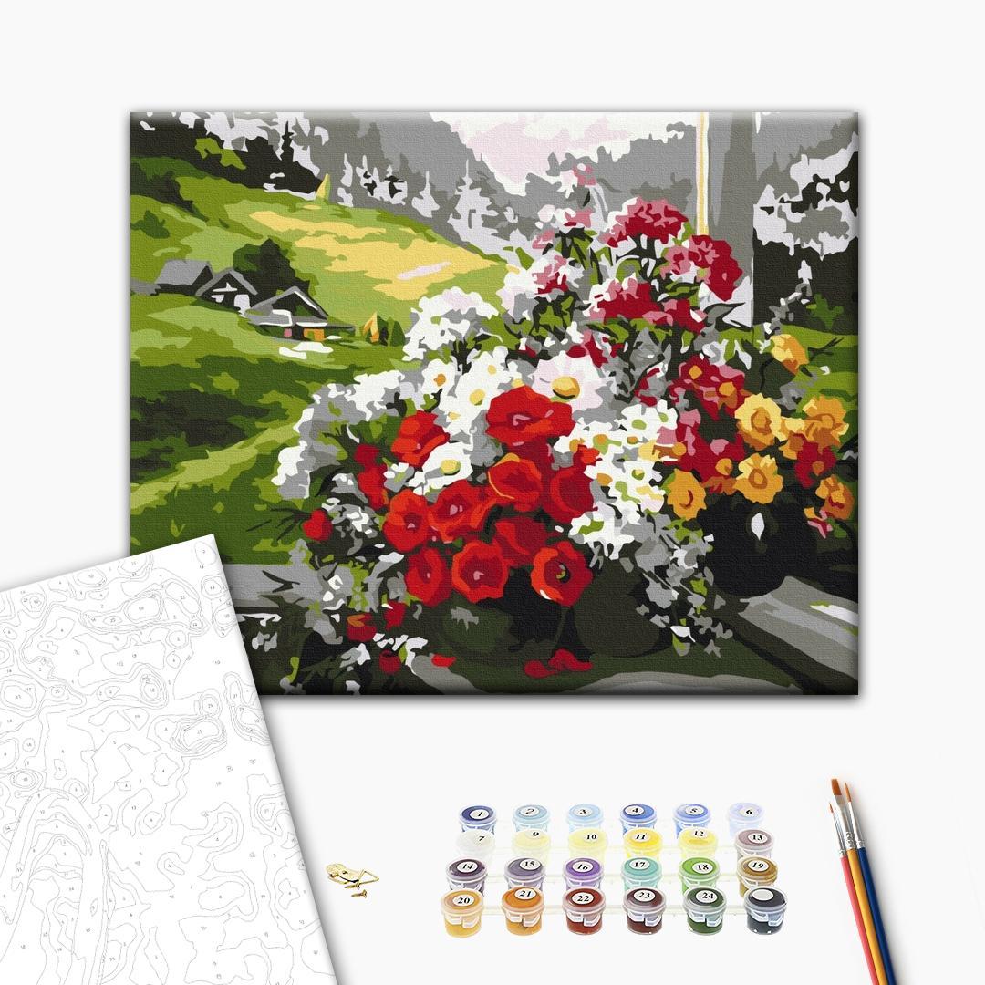 Картина по номерам Цветы - Букети на вікні
