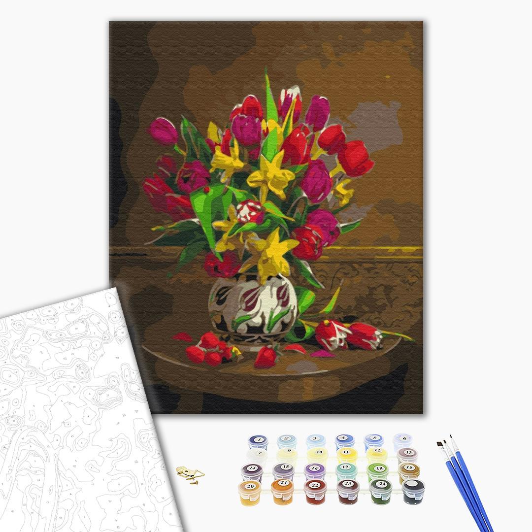 Картина по номерам Цветы - Тюльпаны и нарциссы