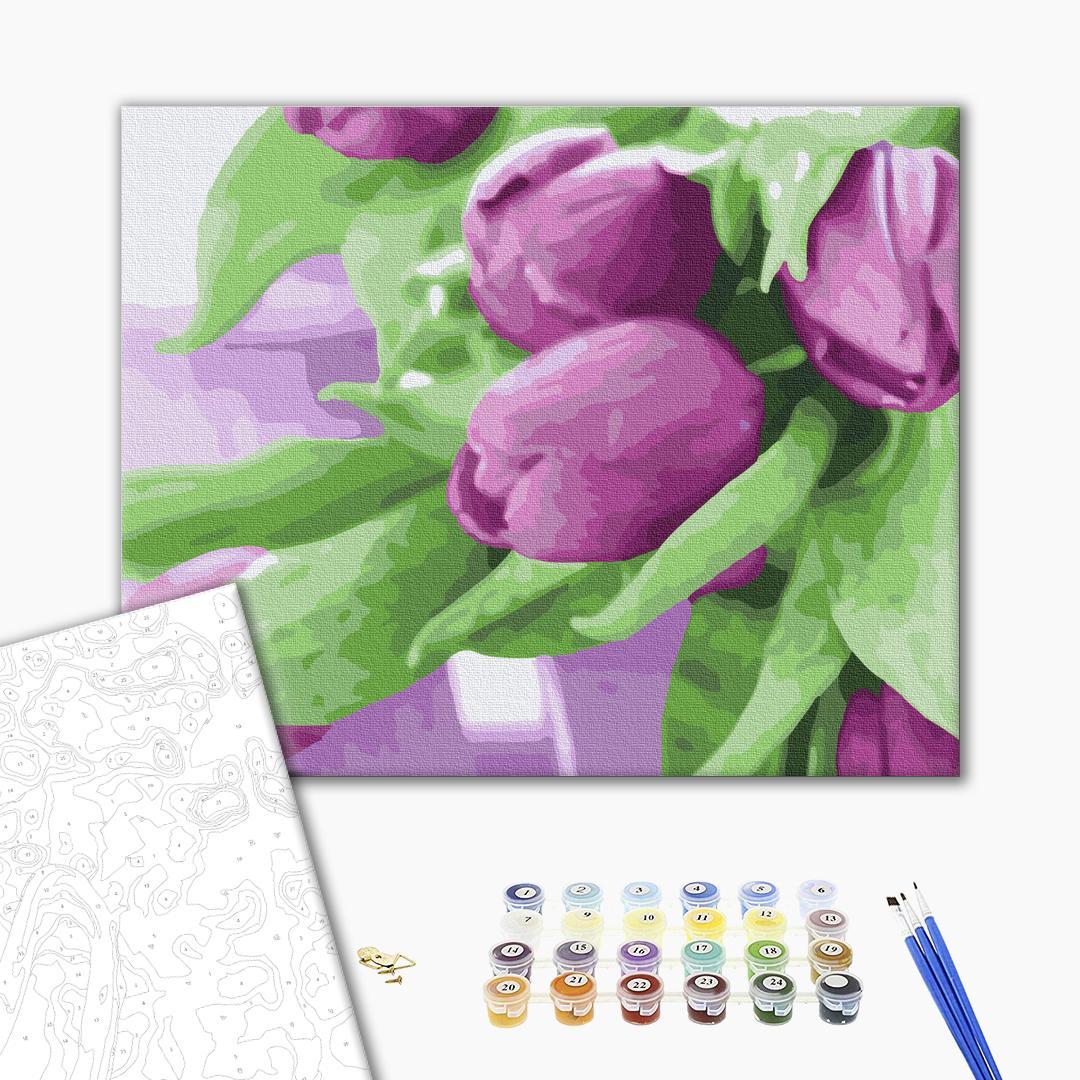 Картина по номерам Цветы - Тюльпаны на столе