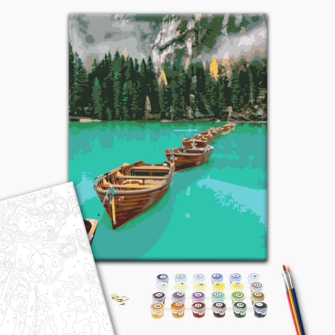 Картина по номерам Пейзажи - Лодки в цепочке