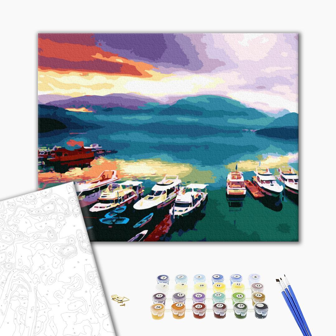 Картина по номерам Корабли, авто и самолеты - Корабли на закате