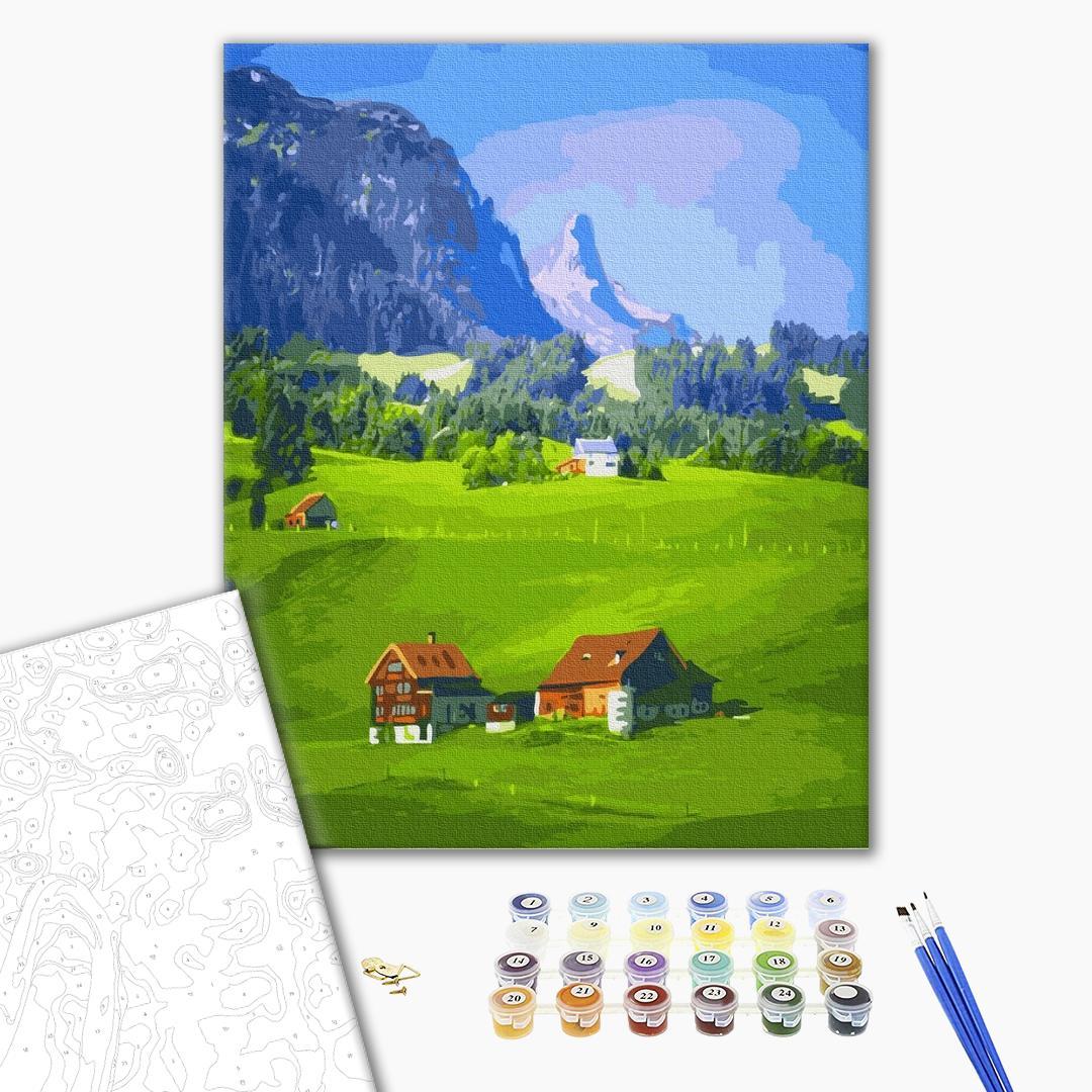 Картина по номерам Пейзажи - Селище в горах