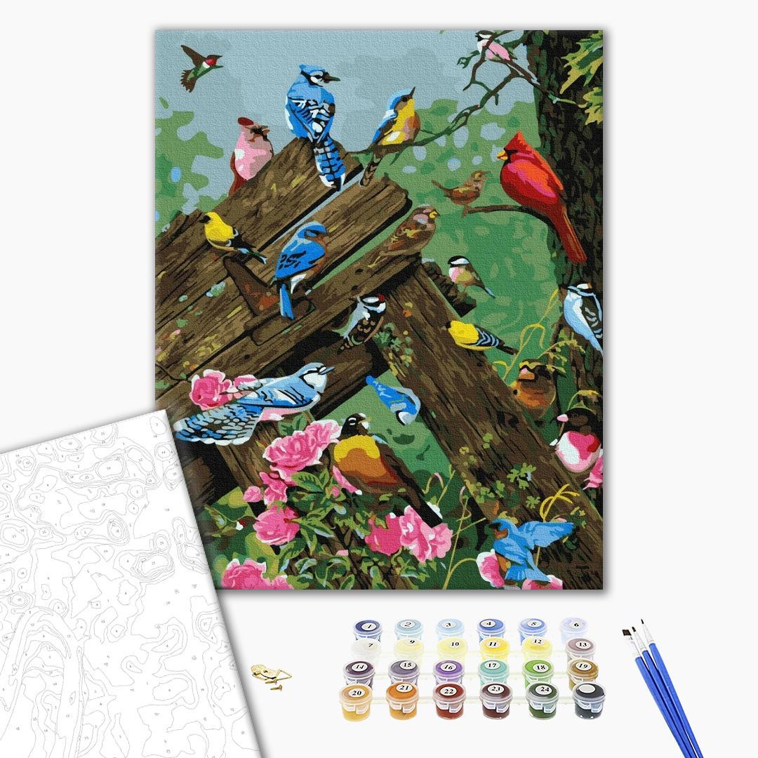 Картина по номерам Животные, птицы и рыбы - Разноцветные птички