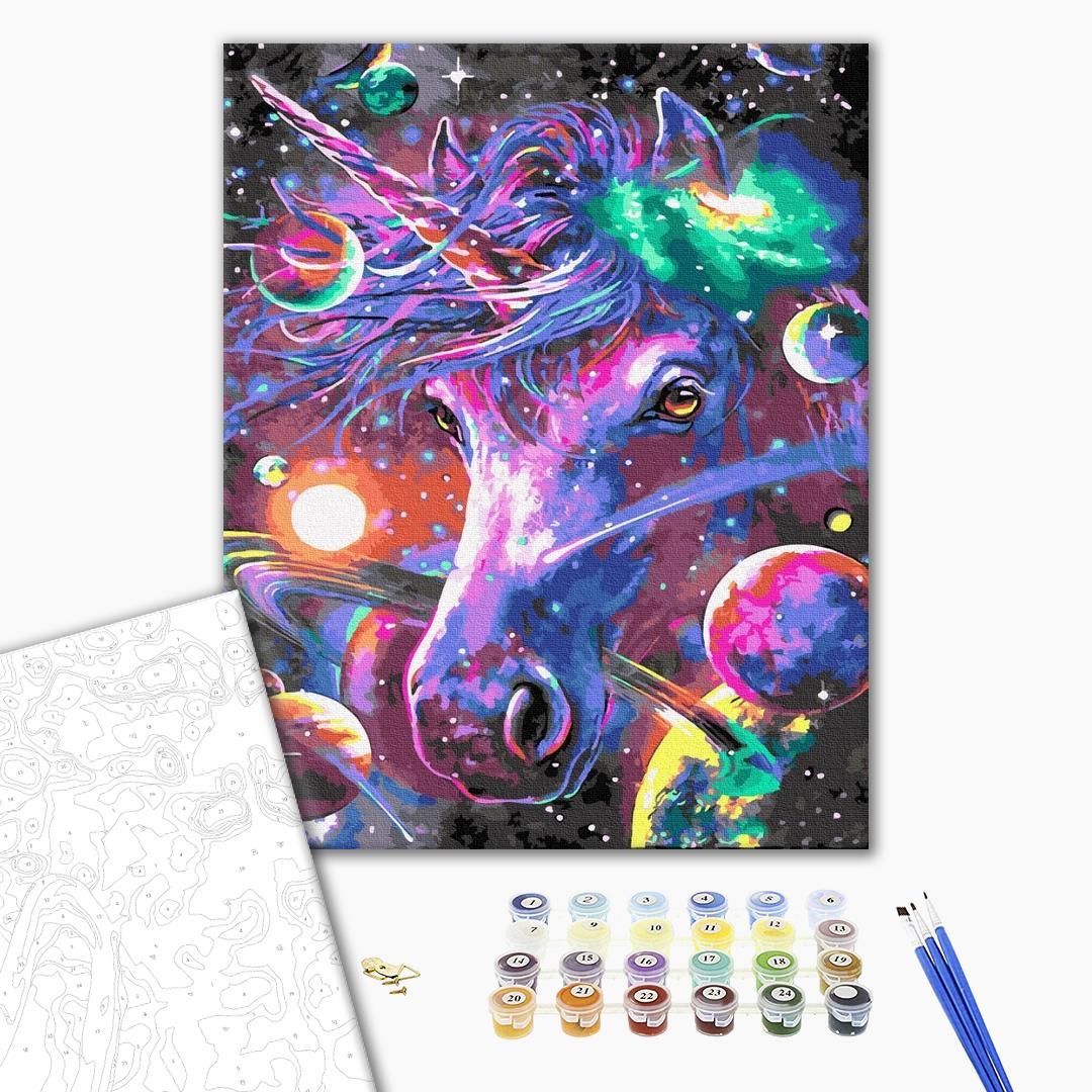 Картина по номерам Уникальные сюжеты - Космический единорог