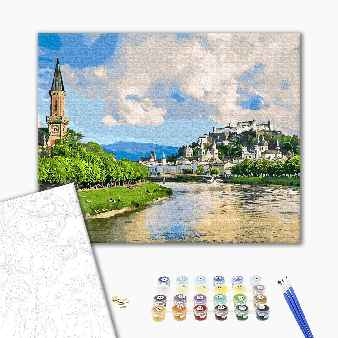 Картина по номерам Пейзажи - Городок у реки