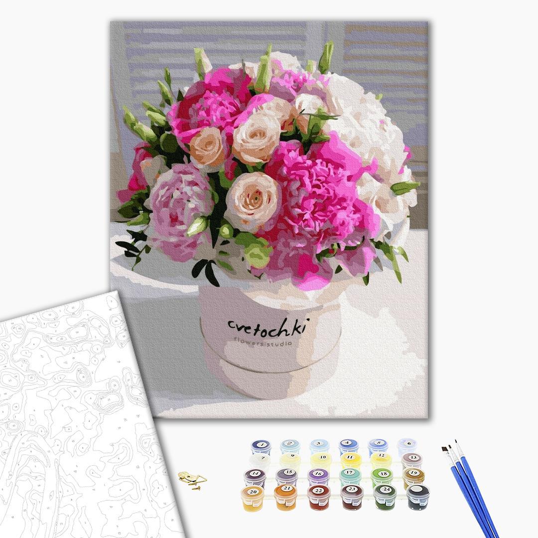 Картина по номерам Цветы - Букет розовой красоты
