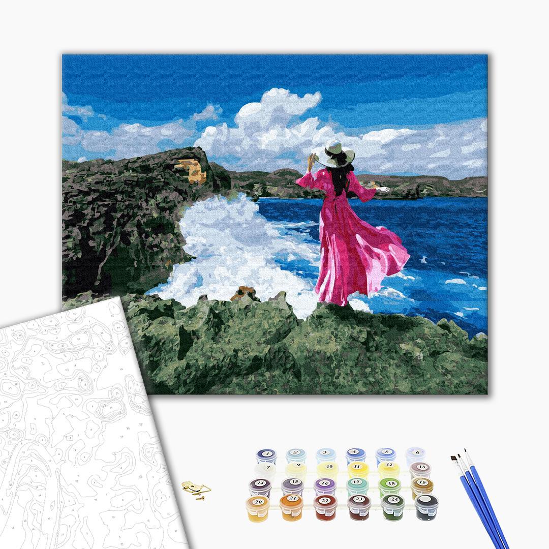 Картина по номерам Люди на картинах - Мандрівниця біля моря