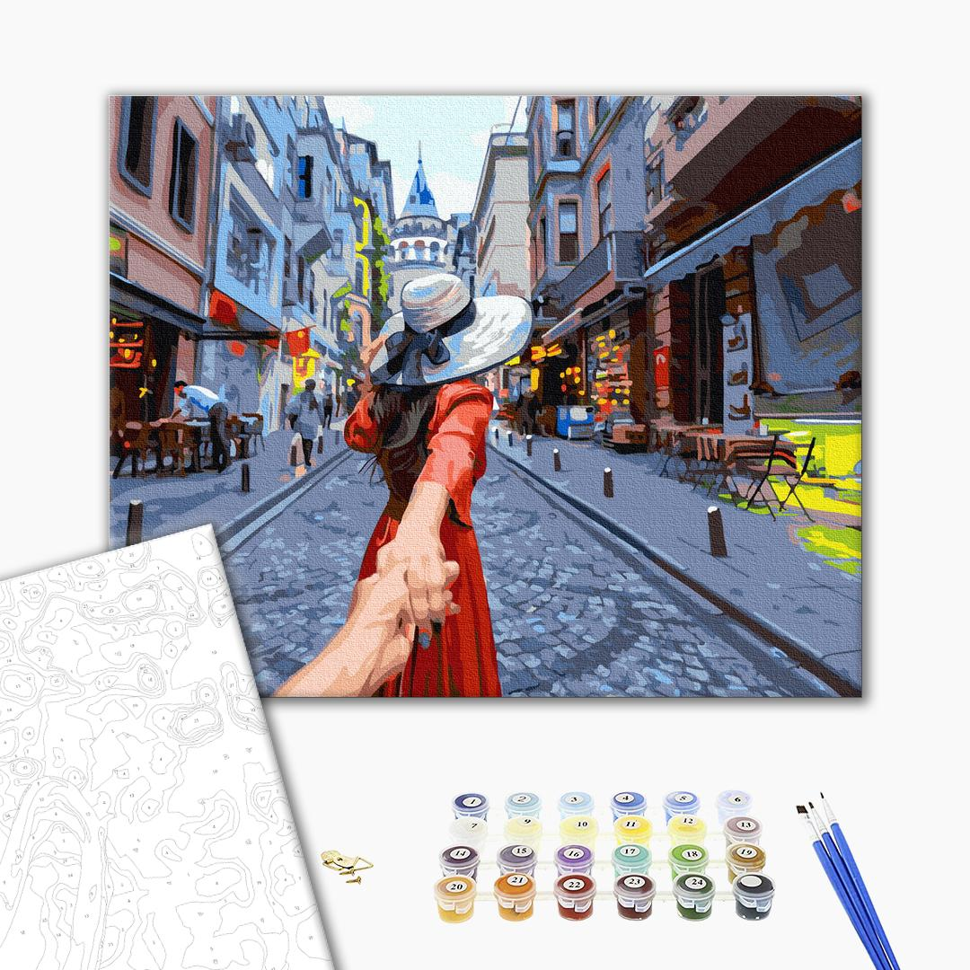 Картина по номерам Люди на картинах - Мандрівниця на прогулянці