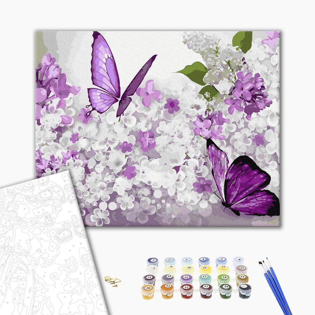 Картина по номерам Животные, птицы и рыбы - Сиреневые бабочки