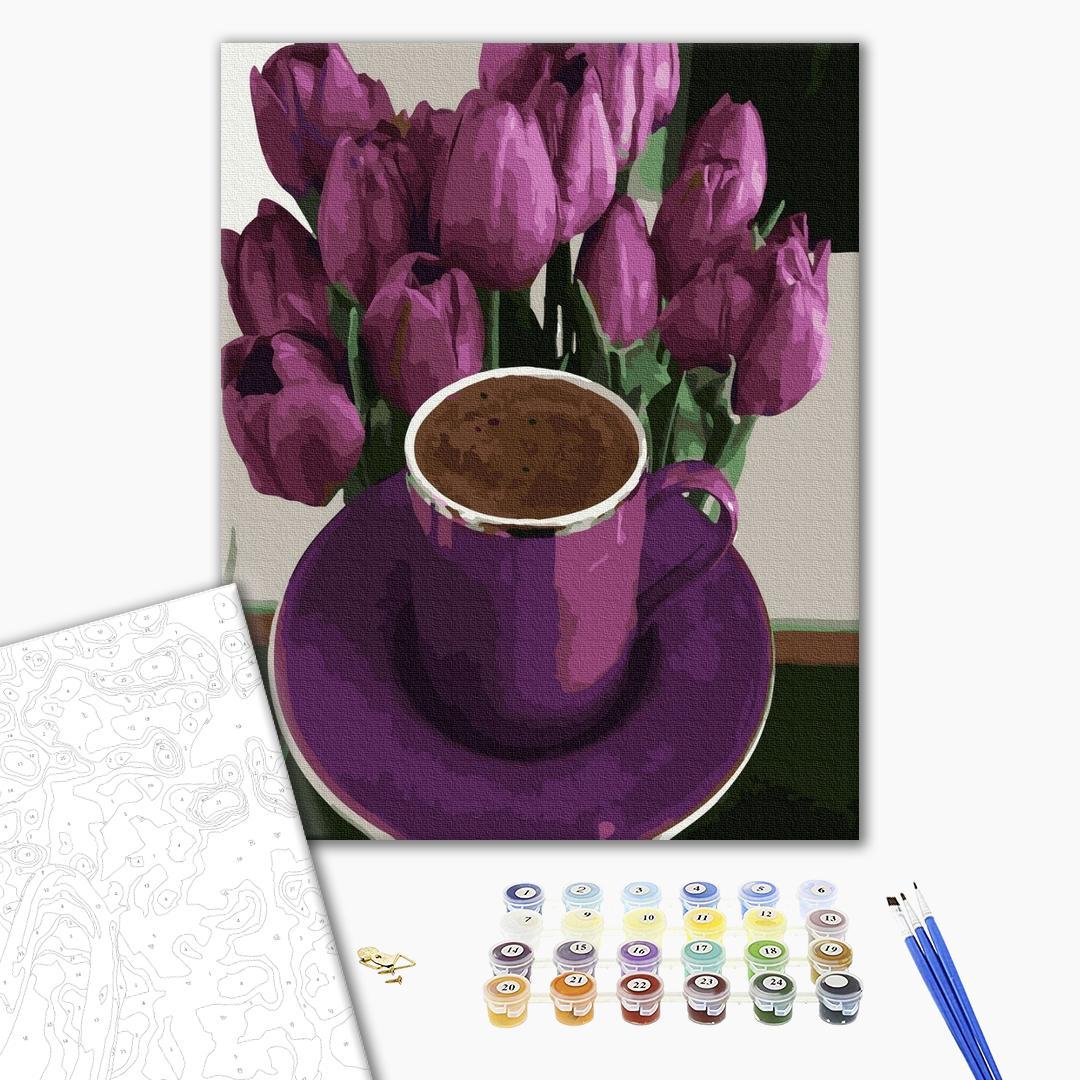 Картина по номерам Натюрморты - Кофепитие с запахом тюльпанов