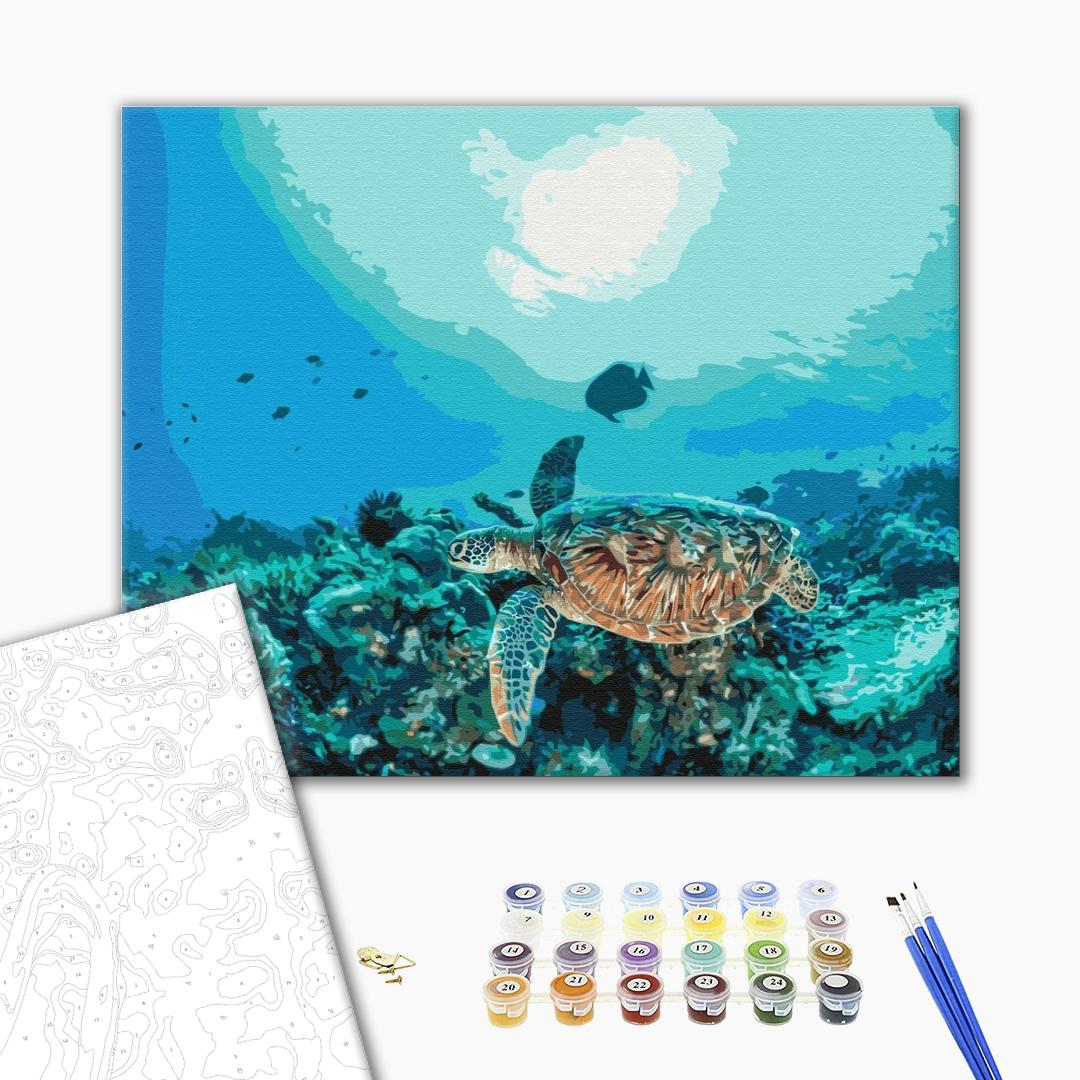 Картина по номерам Животные, птицы и рыбы - Черепаха в коралловом рифе