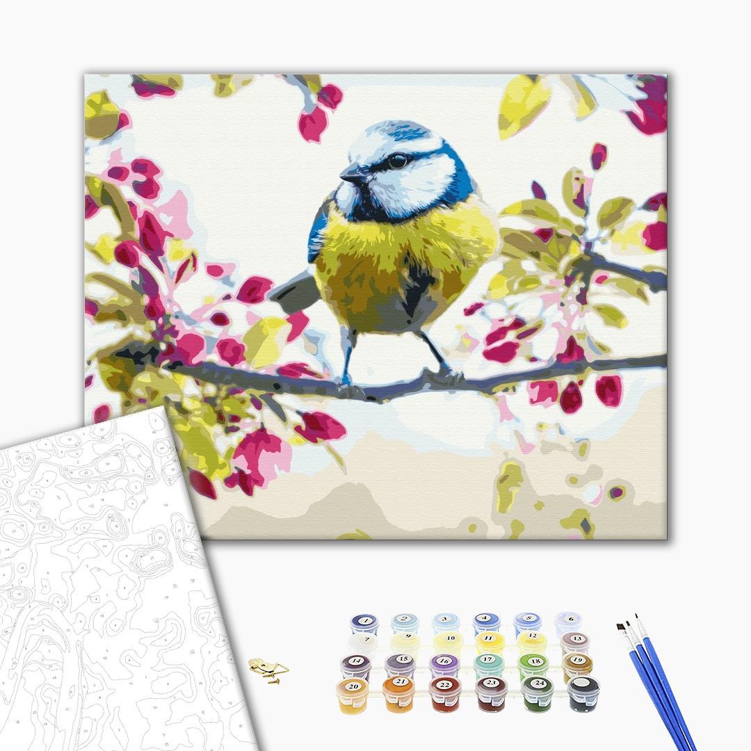 Картина по номерам Животные, птицы и рыбы - Весенняя синичка
