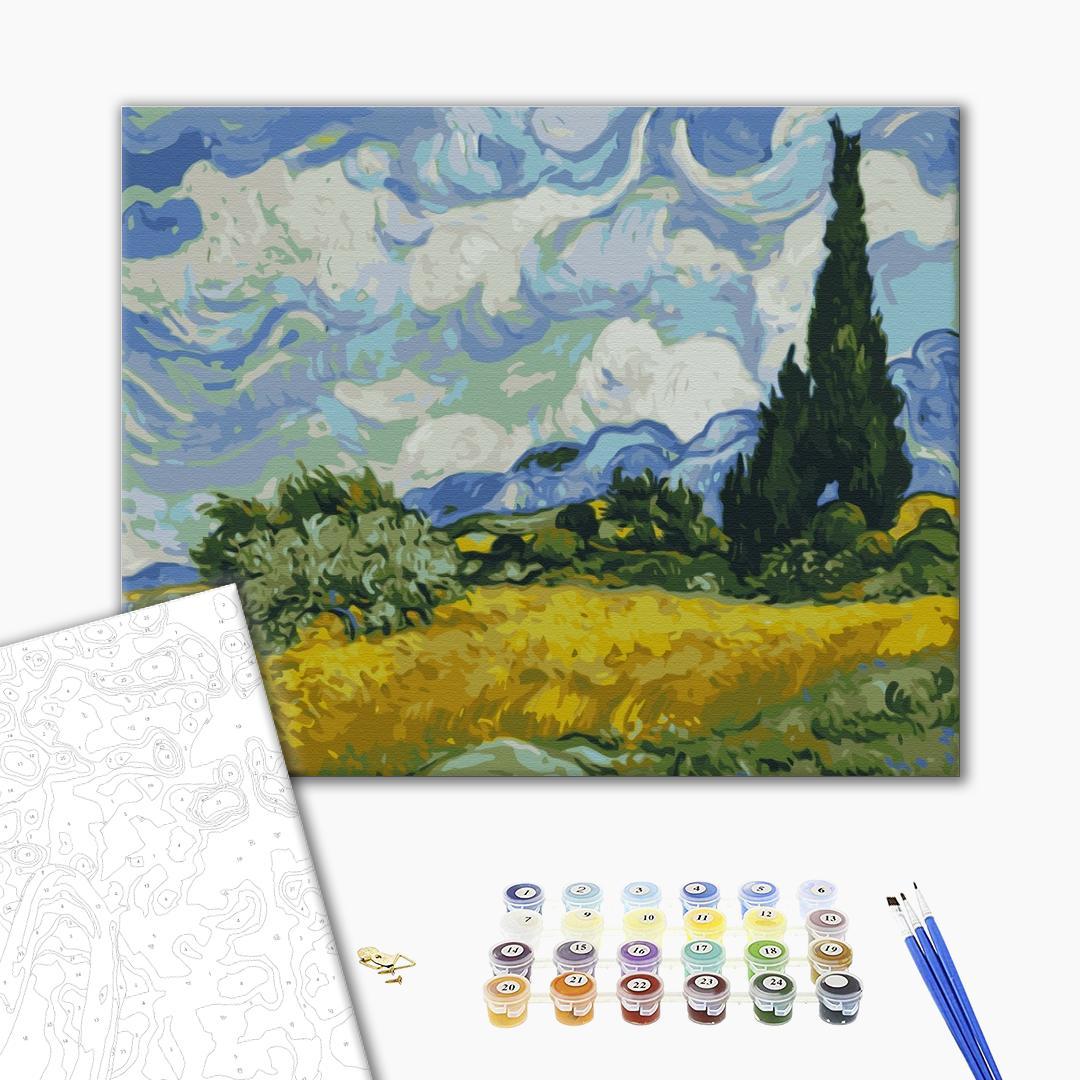 Картина по номерам Репродукции художников - Поле із зеленою пшеницею і кипарисом. Вінсент Ван Гог
