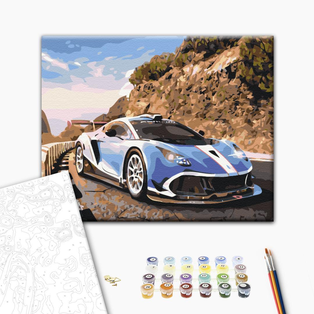 Картина по номерам Корабли, авто и самолеты - Спорткар у гор
