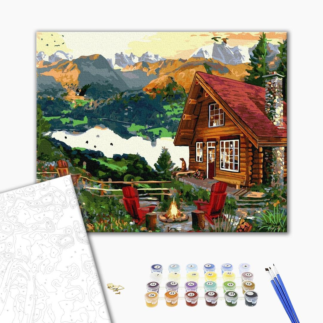 Картина по номерам Пейзажи - Будиночок в горах