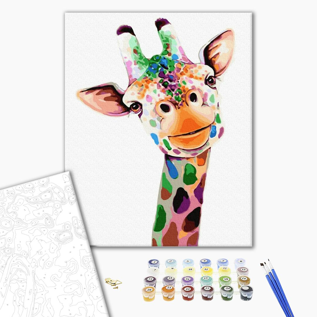 Картина по номерам Поп-арт - Улыбающийся жираф