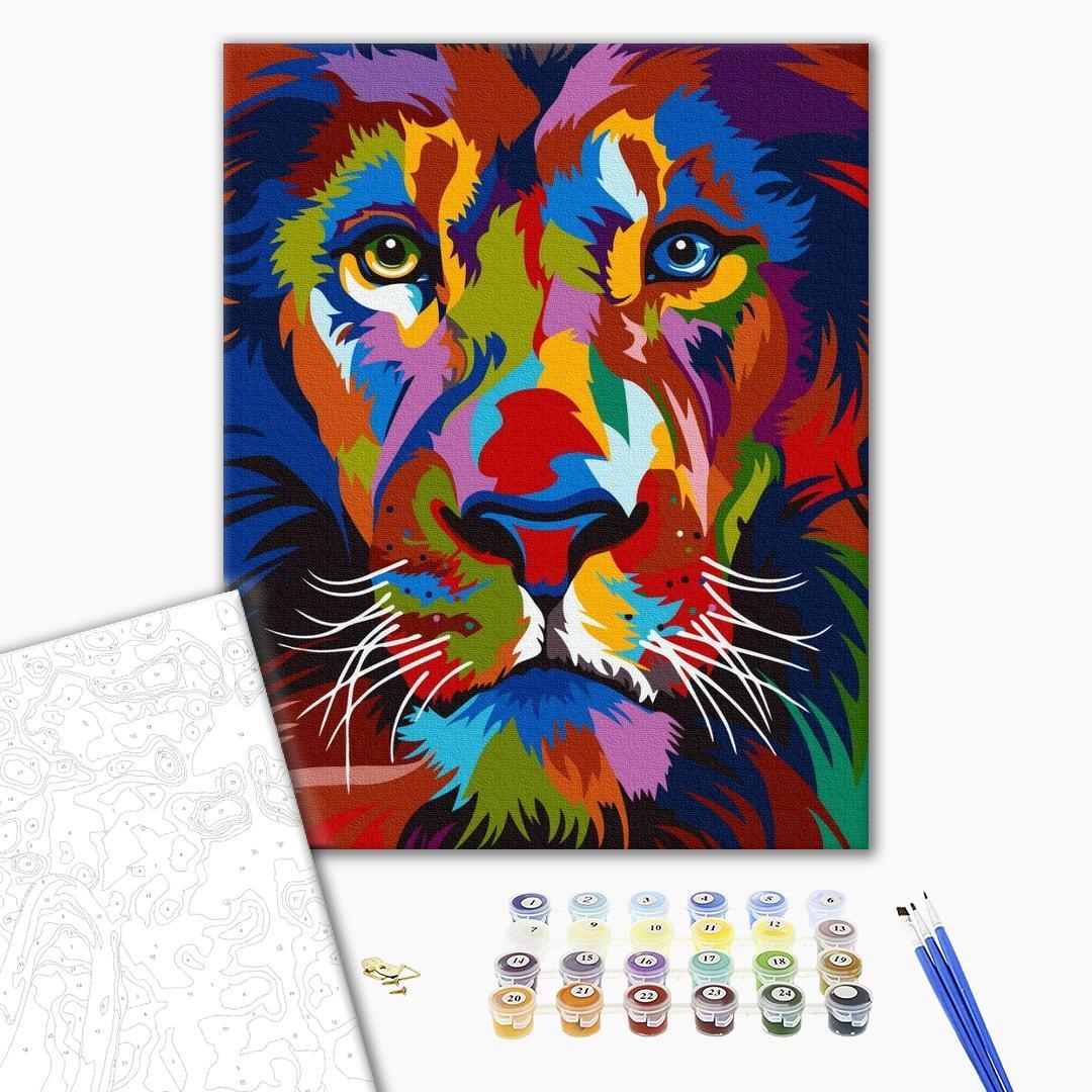 Картина по номерам Поп-арт - Яркий портрет льва