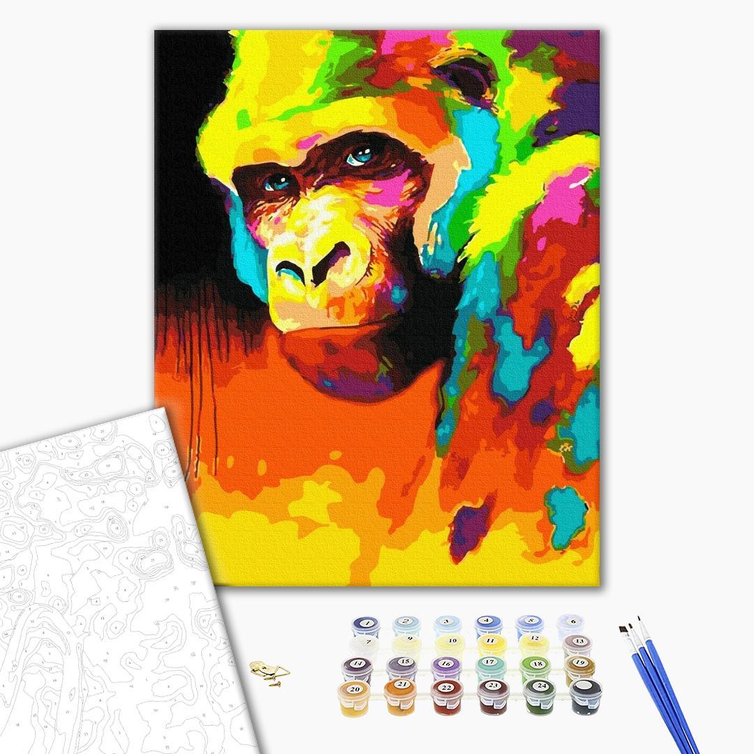 Картина по номерам Поп-арт - Орангутанг у фарбах