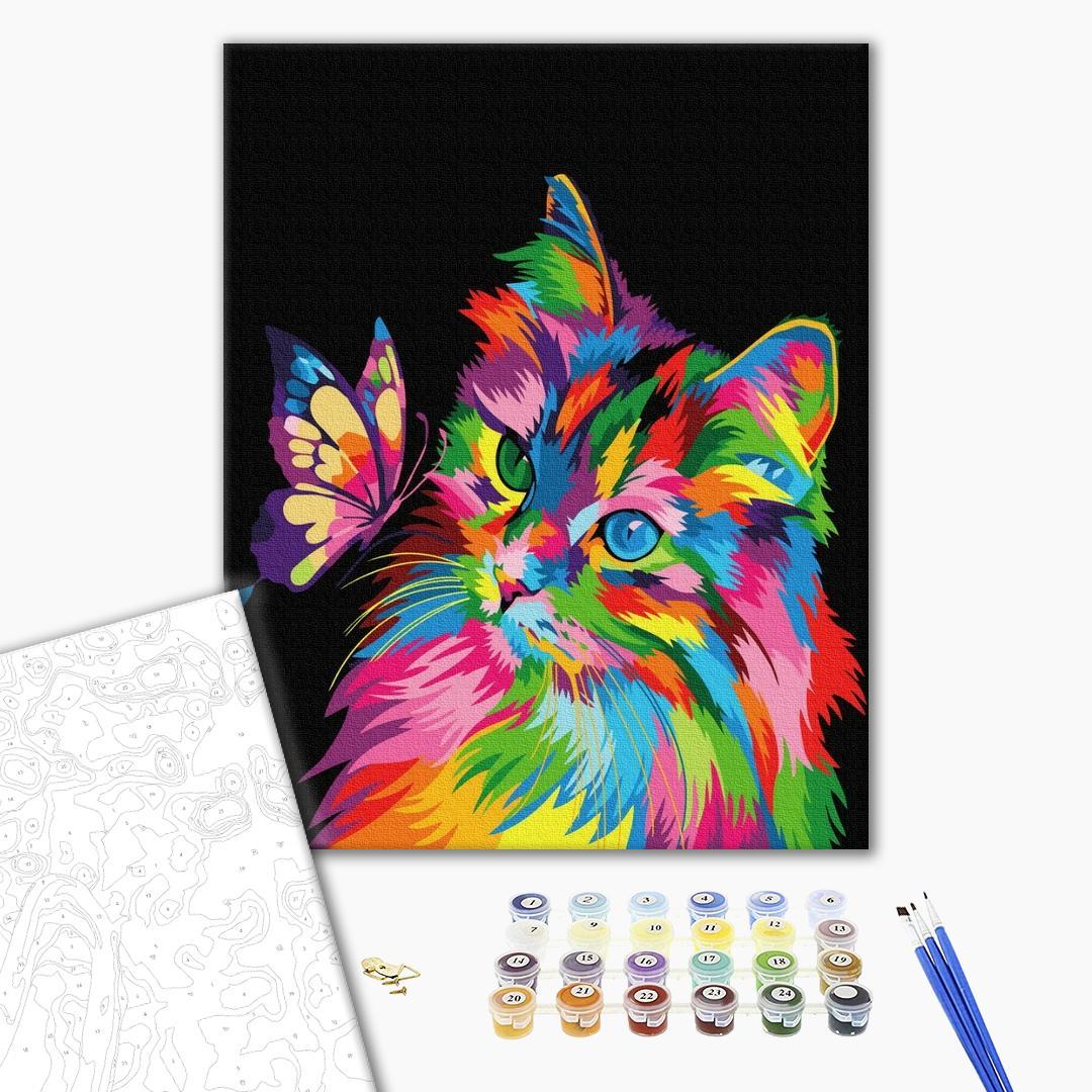 Картина по номерам Поп-арт - Котик в красках