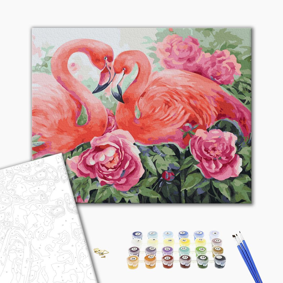 Картина по номерам Животные, птицы и рыбы - Пара фламинго