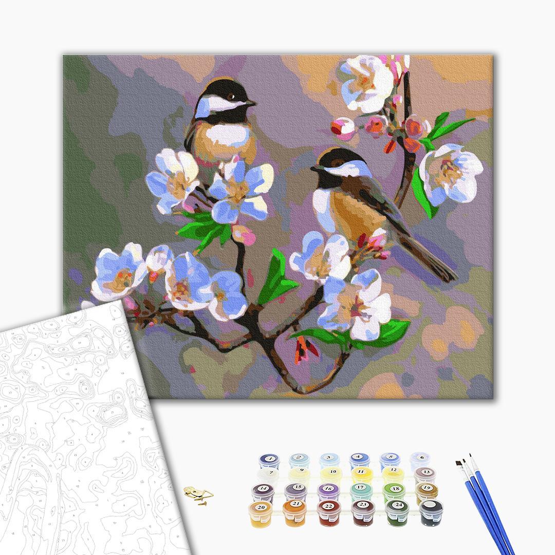 Картина по номерам Животные, птицы и рыбы - Весенние синички