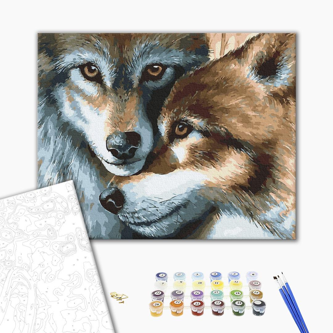 Картина по номерам Животные, птицы и рыбы - Волчья пара