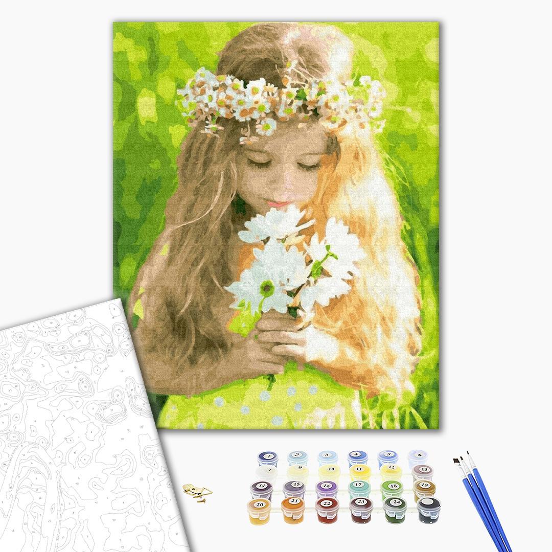 Картина по номерам Дети и ангелочки - Дівчинка з ромашками
