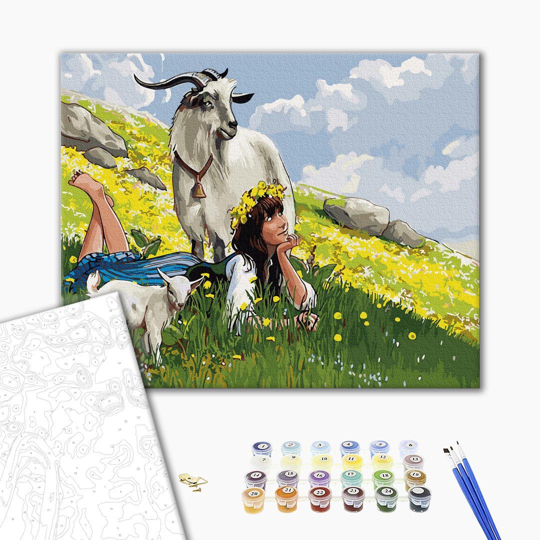 Картина по номерам Украинские города и пейзажи - Пастушка в горах