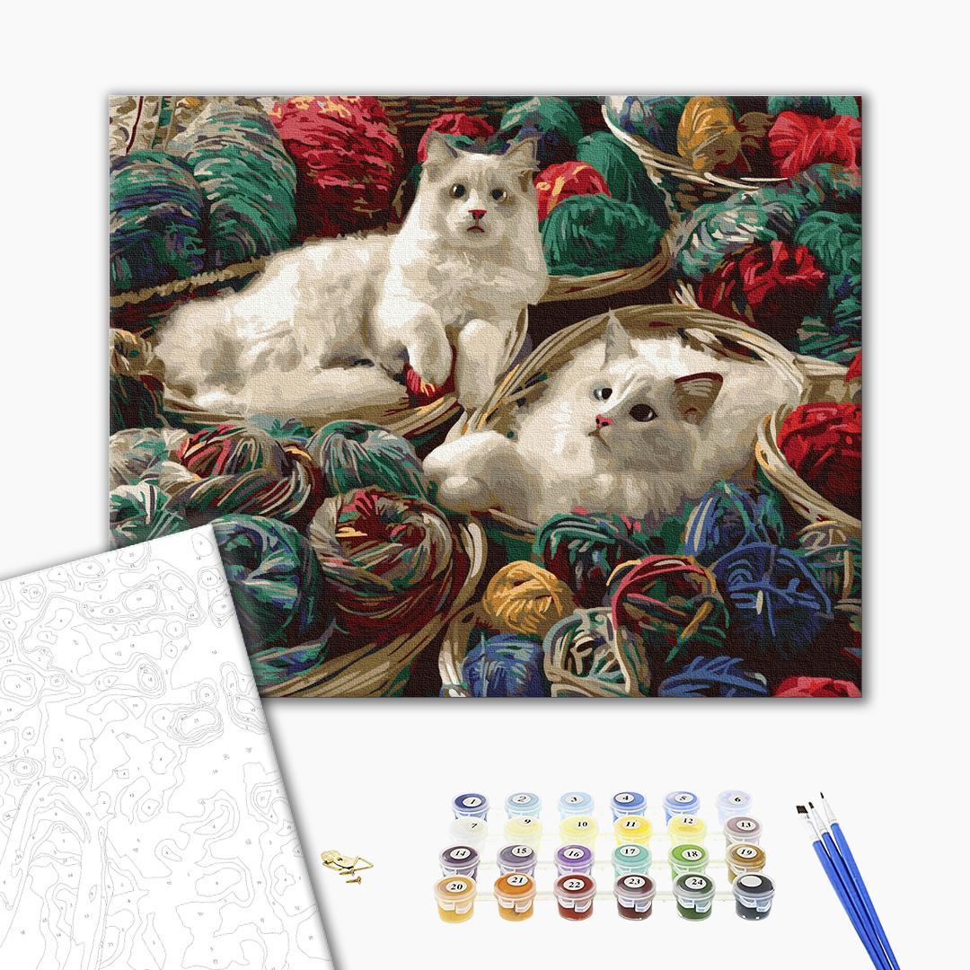 Картина по номерам Животные, птицы и рыбы - Котики в клубках