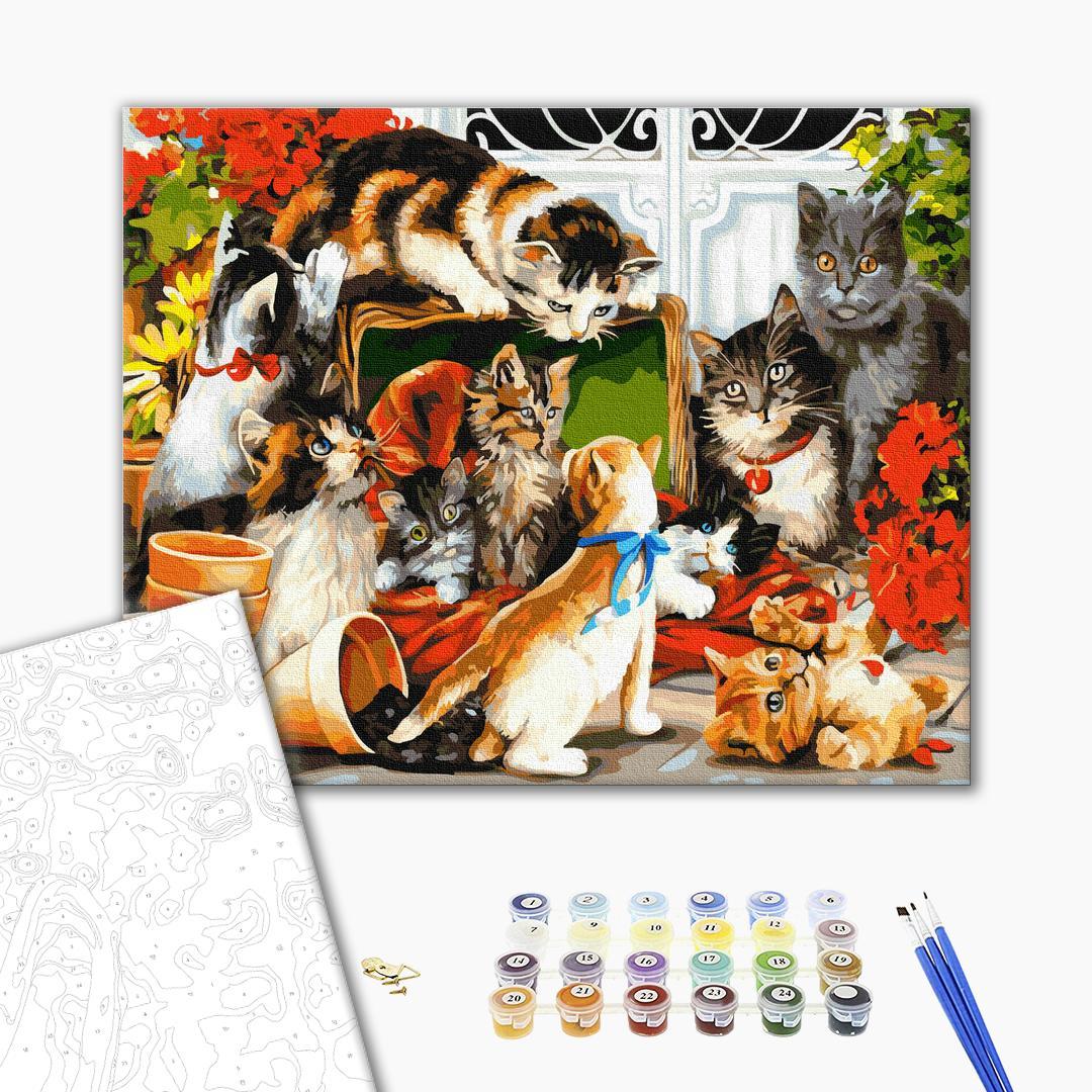 Картина по номерам Животные, птицы и рыбы - Котяча родина