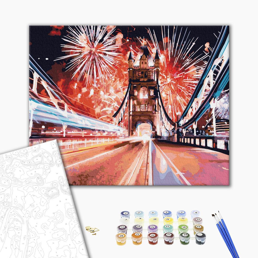 Картина по номерам Города - Фейерверки над мостом