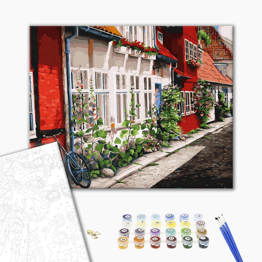 Картина по номерам Города - Мальвы под окном
