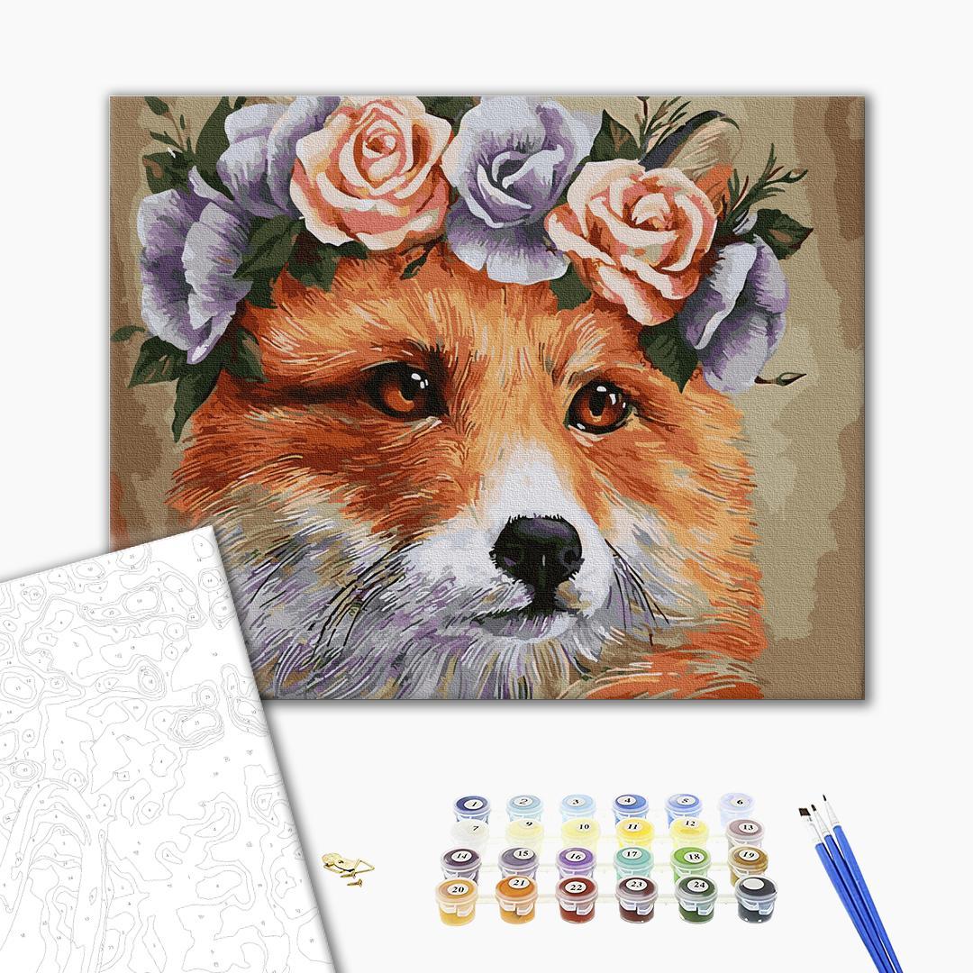 Картина по номерам Животные, птицы и рыбы - Лисичка у віночку