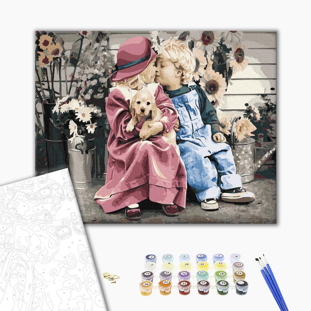 Картина по номерам Дети и ангелочки - Первая влюбленность