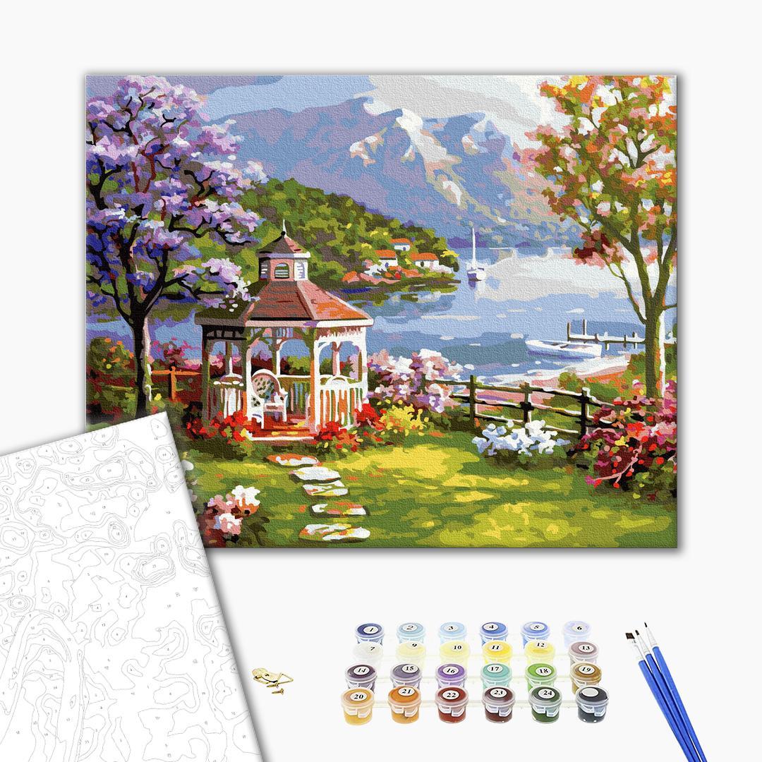 Картина по номерам Пейзажи - Беседка у горного озера