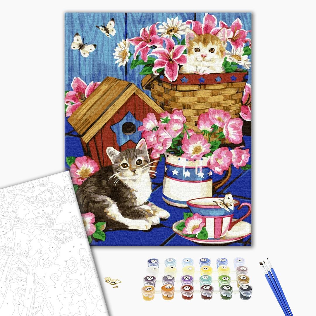 Картина по номерам Животные, птицы и рыбы - Котята в цветах