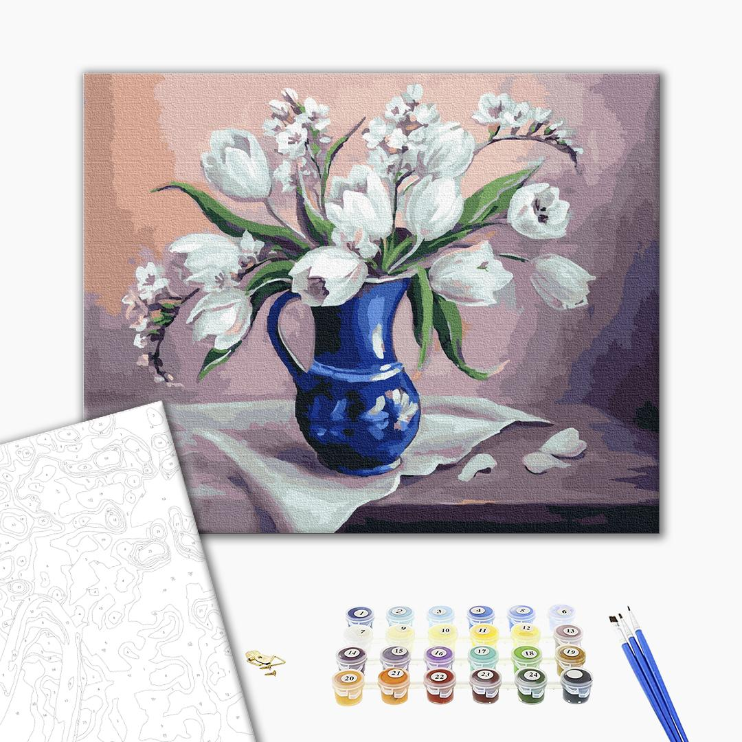 Картина по номерам Цветы - Нежный натюрморт с цветами