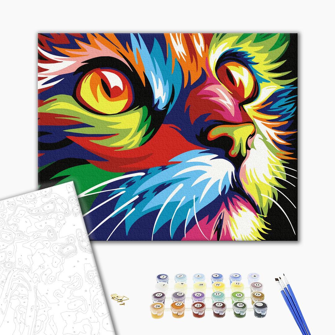 Картина по номерам Поп-арт - Красочный кот