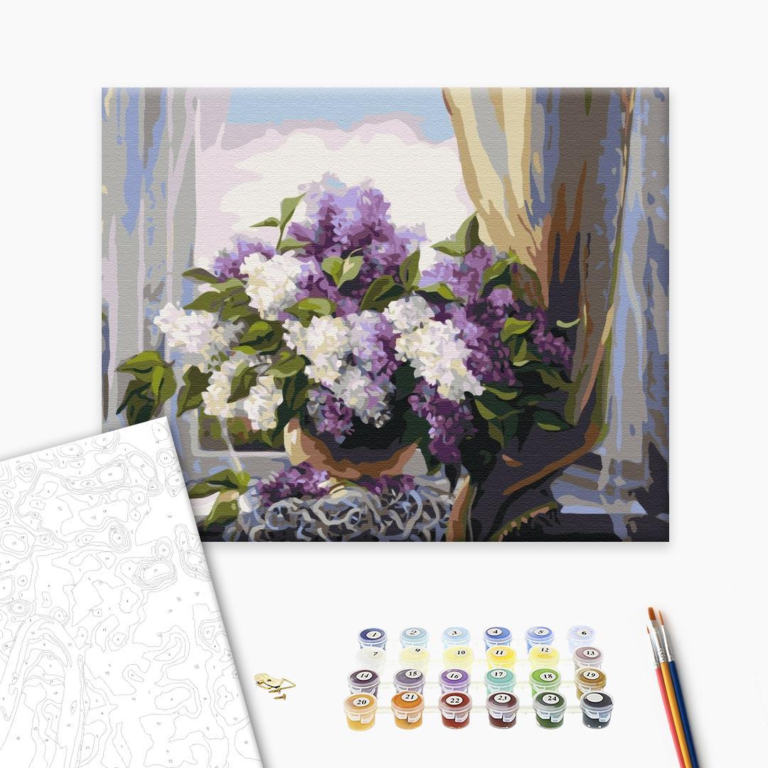 Картина по номерам Цветы - Бузок біля вікна