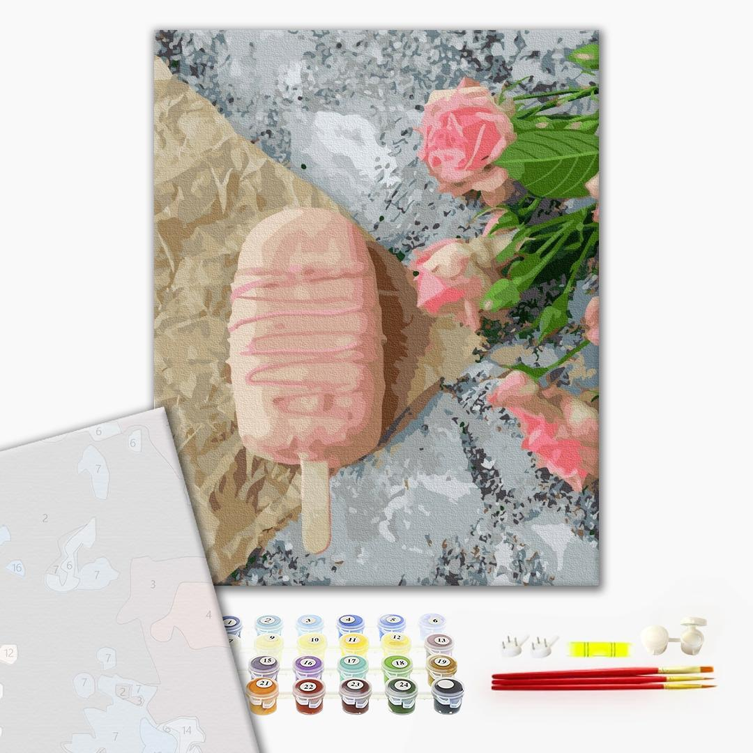 Картина по номерам ПРЕМИУМ картины - Розовое мороженое