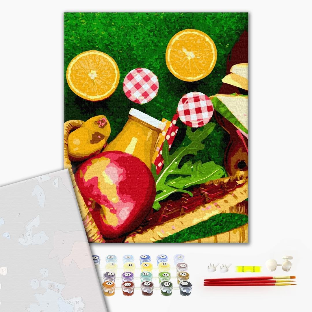 Картина по номерам ПРЕМИУМ картины - Апельсины из корзинки