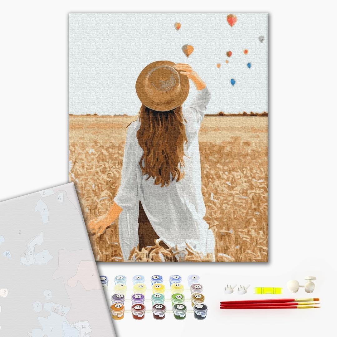 Картина по номерам ПРЕМИУМ картины - Путешественница в ржаном поле