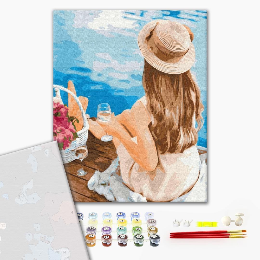 Картина по номерам ПРЕМИУМ картины - Мечтательница в шляпке