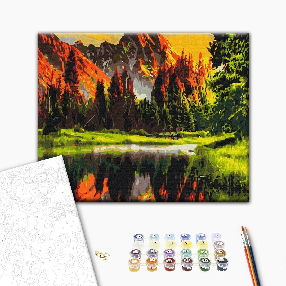Картина по номерам Пейзажи - Закат в горной долине