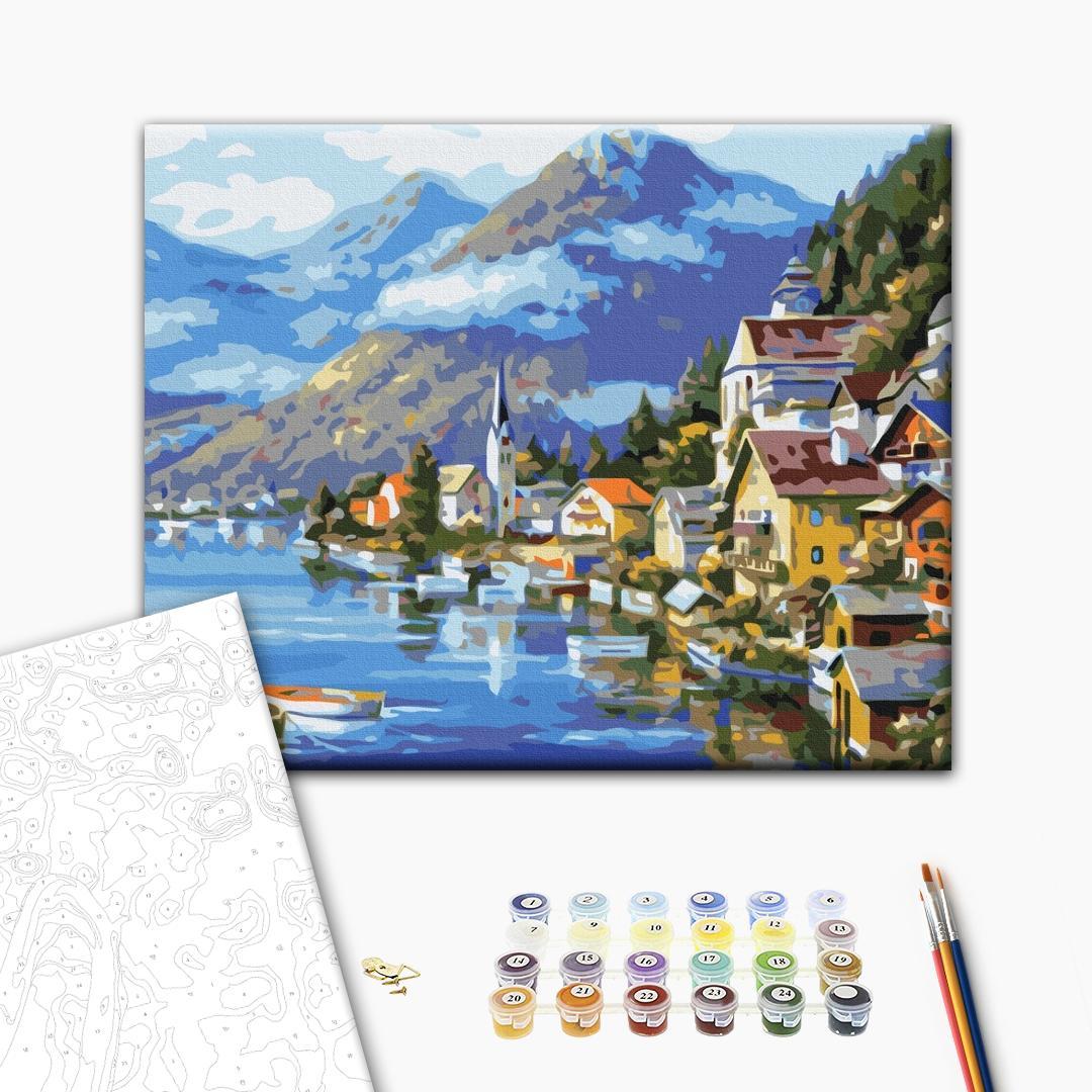Картина по номерам Города - Деревня у подножья горы