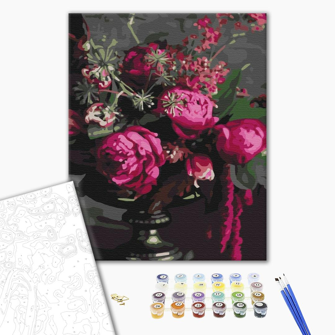 Картина по номерам Цветы - Малиновые пионы